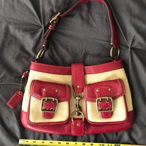 Coach Red Legacy hobo bag with straw